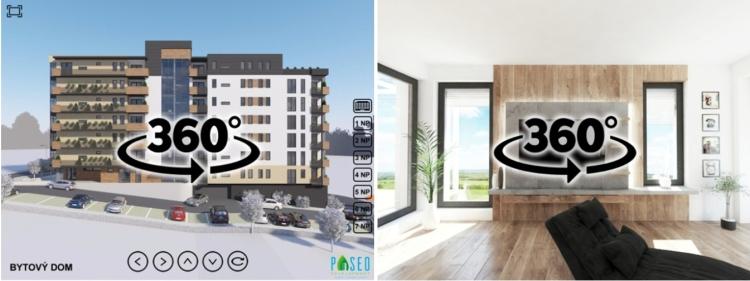 Obr. 2 360° panoramatická vizualizácia exteriéru developerského projektu Paseo Grunty Košice