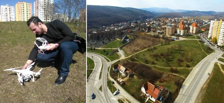 Obr. 4 Fotenie lokality dronom pre simuláciu výhľadov z objektu